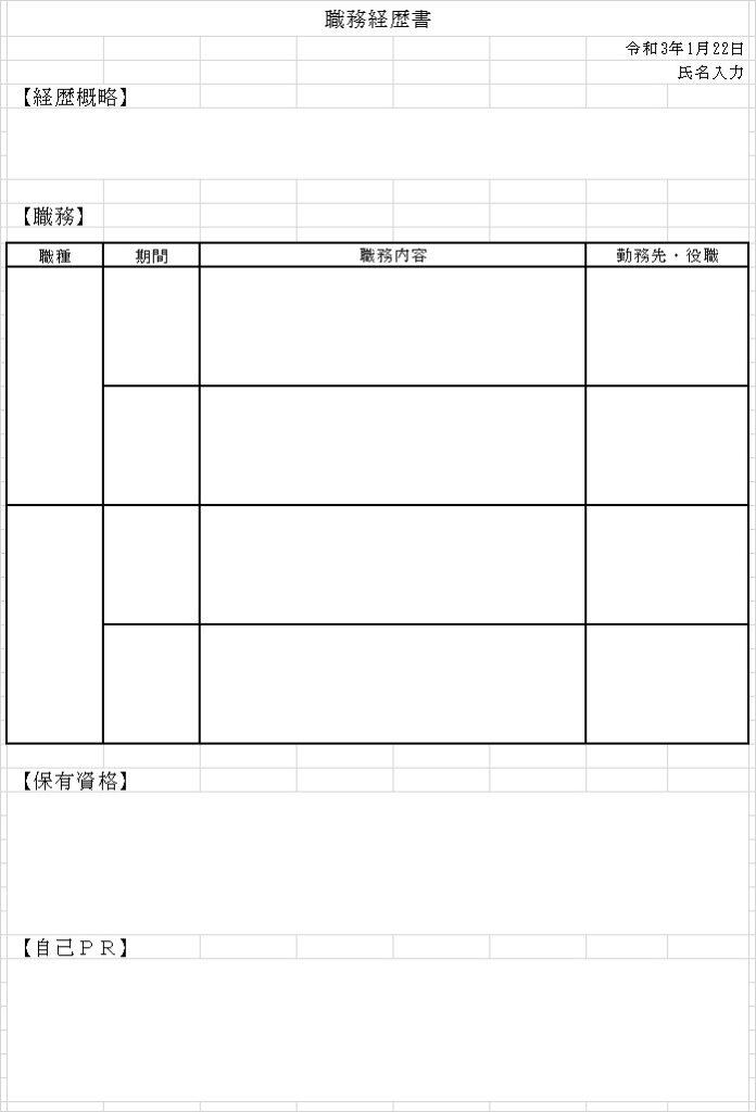 職務経歴書キャリア式見本